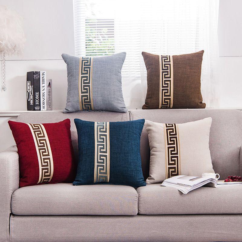 5 цветов Простой моды хлопок белье Nap Подушка Обложка Home Decor диванов подушка Твердая наволочка