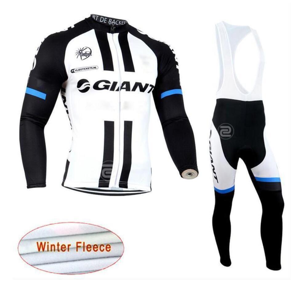2019 equipa novo gigante Ciclismo Inverno térmica camisa velo (bib) calças conjuntos homens mangas compridas bicicleta maillot roupa ciclismo lzfboss4