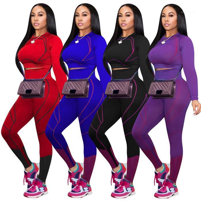 Tasarımcı Eşofman Yoga Spor İki Adet Patchwork Uzun Kollu Jogger Spor Giyim İnce Seksi Womens Tops Ve Yüksek Bel Pantolon ayarlar