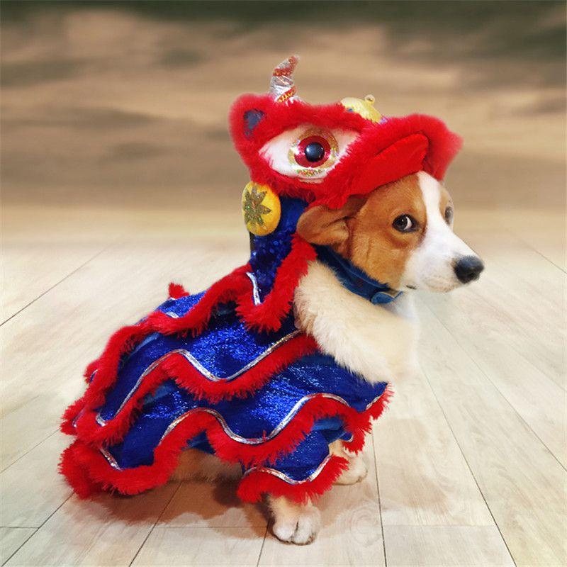 Drôle de chien vêtements pour animaux Nouveau costume chinois Année Dragon Dance Lion Dog Vêtements chiot Danse du Lion rouge de fête A-203