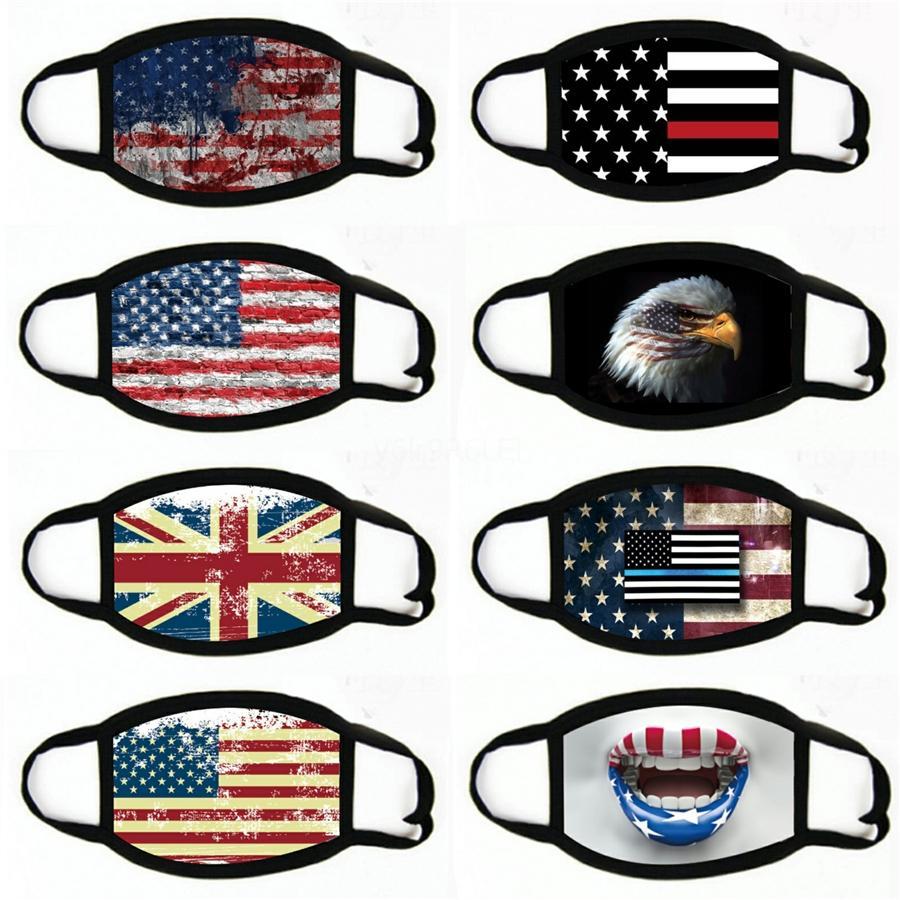 2020 Nuevo hombre y para mujer de algodón mascarilla de la máscara protectora de algodón lavado de la bandera americana impresa del estampado leopardo Máscaras # 399