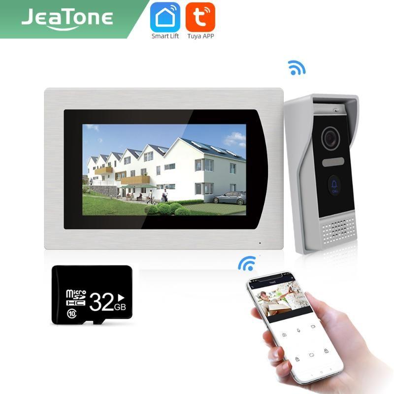 """Видео Дверные телефоны Jeatone Tueya Smart 7 """"дюймовый Wi-Fi Внутренний монитор Дверной звонок IP Домофон Видео / Snaps AHD / 720P 32G 87712"""