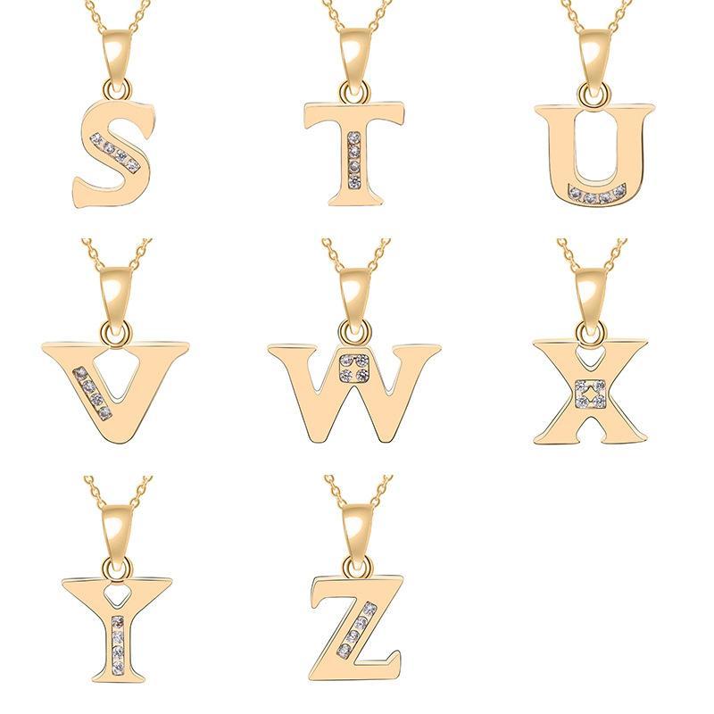 Кулон Ожерелья 26 Английский Буквы Мода Счастливое Ожерелье Алфавит Первоначальный знак Мать Друг Фамилия Имя Подарочные Украшения
