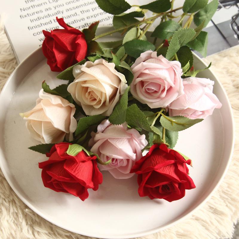 День 51CM Искусственного цветок Шелковой Роза байковой Роза Поддельного цветок Burgundy DIY Home Party Decor Свадьба Валентин Поставка