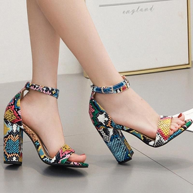 Verano de las mujeres sandalias de punta abierta de los tacones altos de serpiente patrón de la manera señoras forma las sandalias gladiador Calzado mujer Sandalias # g4 cXmW #