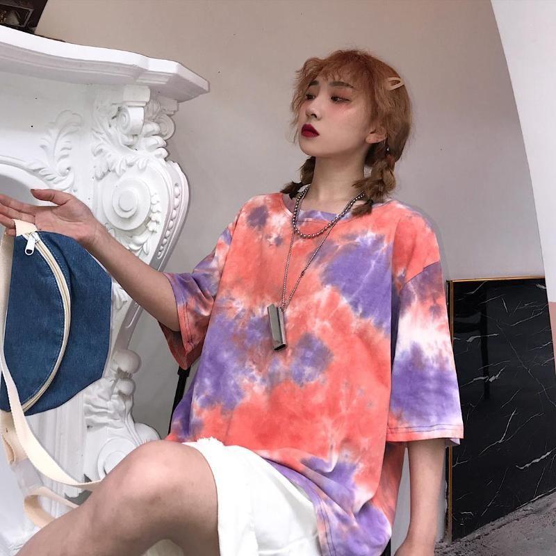 Tie-краситель Harajuku Сыпучие девушка Короткие Sleeveo-образным вырезом Sexy Vintage Уличная Женщины T-Shirt плюс размер женщина тройник Hip Hop Пара одежды