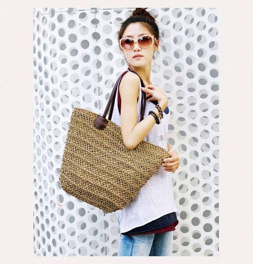 Bohemian Mulheres Straw Beach Bags Large Senhoras bolsas Verão Rattan Bag vime Handmade fêmeas Viagem bolsas Casual Totes aAUO #
