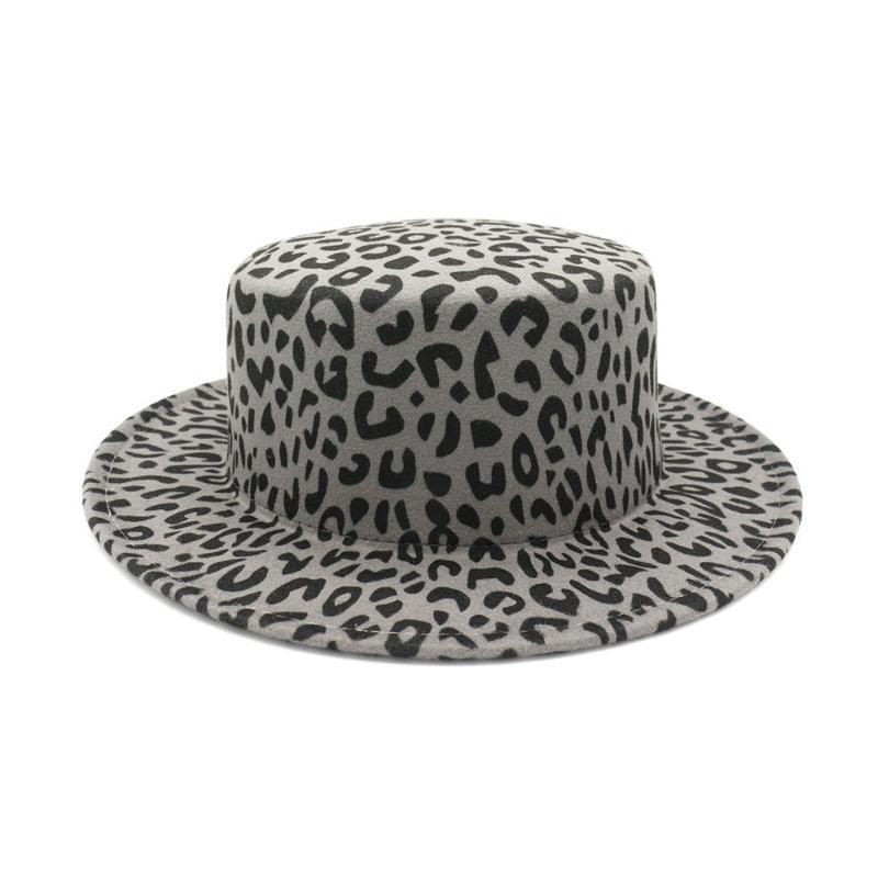 Широкие шляпы Breim Hats Fashion Fairt Hat с плоским верхним крышкой Женщины шерсть леопард Федорас Мужские винтажные трилби шапки джаз Caphau Femme Panama