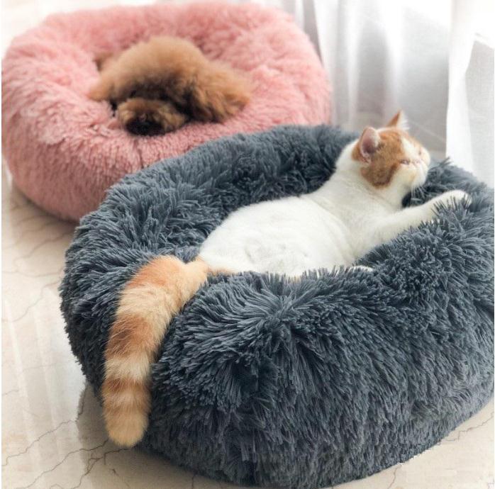 HEISS! Langer Plüsch Super Soft Pet Round Bed Zwinger Hund-Katze-bequemer Schlaf Cusion Winter House für Cat Warm Hundebetten Pet Products