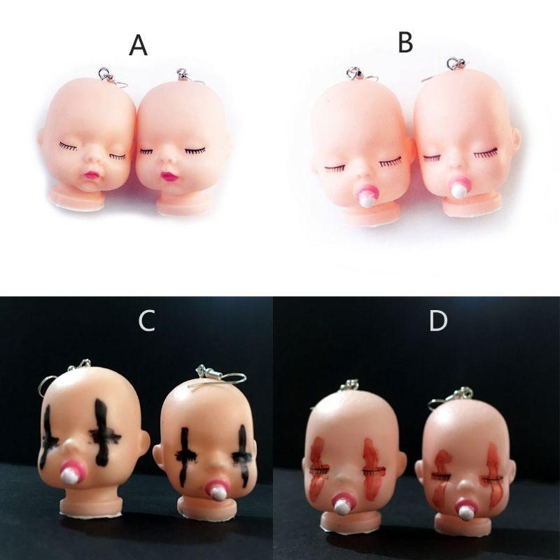 Шпилька 1 пара ручной работы смешные сломанные злые сонные кукла кулон серьги детские куклы головы игрушечные женщины мода ювелирные изделия