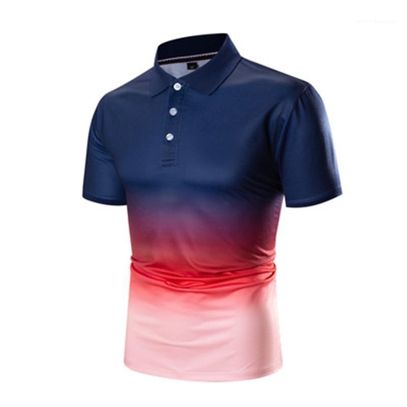 Moda Trend Günlük teslimi Aşağı Yaka Gevşek Polos Man Batik Polos Tasarımcı Yaz Kısa Kollu Yaka Nefes Tişört