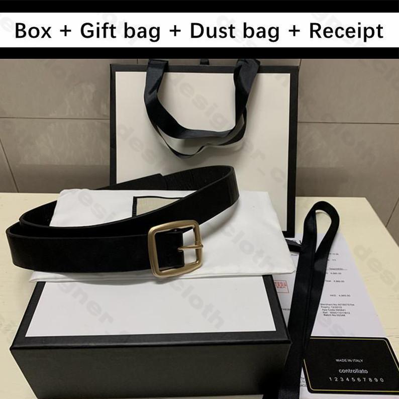 2020 bolsa de polvo de calidad superior con la caja de regalo bolsa de cuero de vaca real mens del cuero genuino de la nueva manera para mujer cinturones de hebilla de oro de la serpiente G diseñador de los hombres de la correa