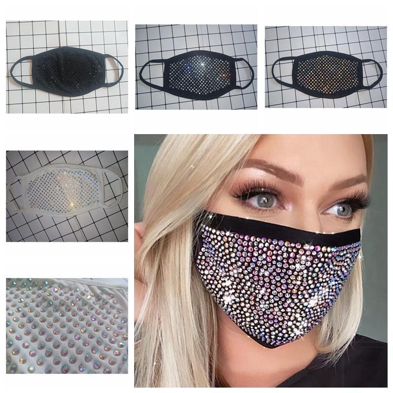 Strass Maschera Paillettes Bocca della copertura della mascherina di moda Masquerade Bling di protezione antipolvere lavabile riutilizzabile Maschera per il viso YYA483
