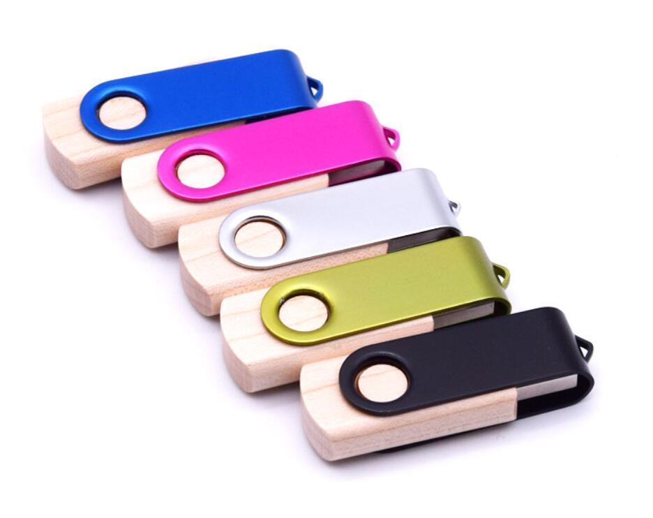 Maple Holz-USB-Flashdrive Pendrives + Metallclip Personalizado Logo 64gb 32gb 16gb USB Stick 3.0 Pen Drive