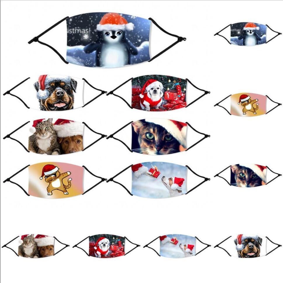 Mode Masques de Noël Imprimé Noël Masques visage anti-poussière couverture Cartoon imprimé animal bouche de Noël avec des filtres lavables réutilisables FY4235