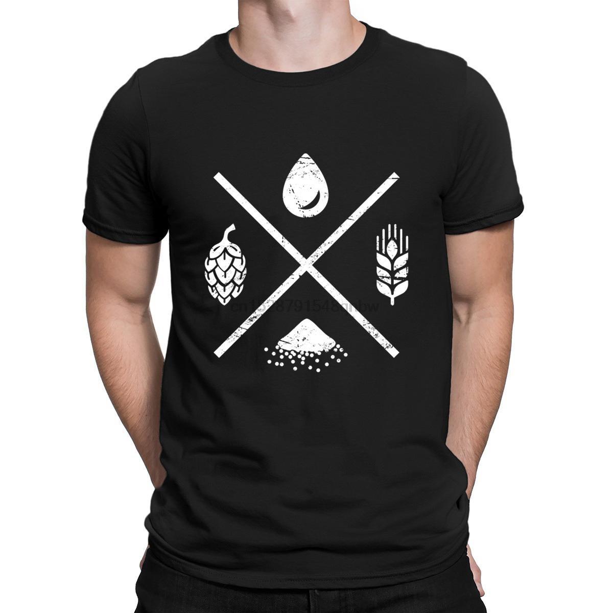 Retro afligido Homebrew Beer Ingredients T Shirt Cotton personalizado Famoso engraçado camisetas Moda Verão 2019 Roupa Padrão