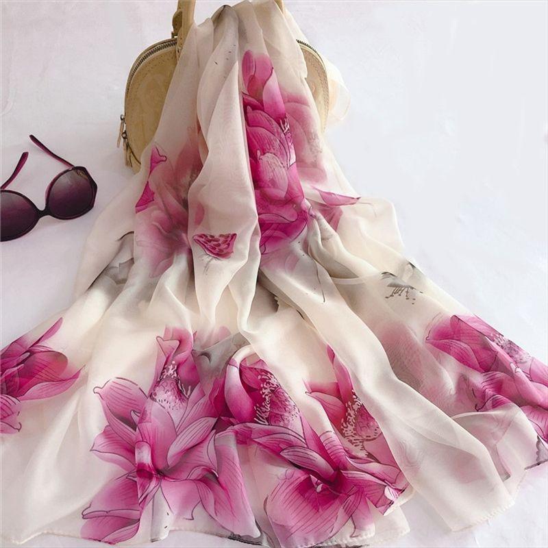primavera y otoño scarfAir acondicionado de seda de las mujeres de seda Ddd3t Nueva bufanda de gasa fina impresión todo-fósforo de la playa de la gasa de aire acondicionado sol p