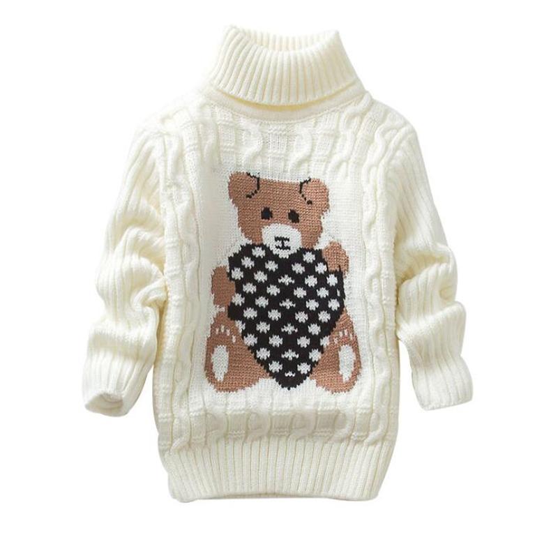 Pullover für Mädchen Jungen-Kind gestrickte warme Kleidung Pullover Druck Bär Pullover Weihnachten Kid Kostüm der hohen Kragen-Pullover 3 8Y