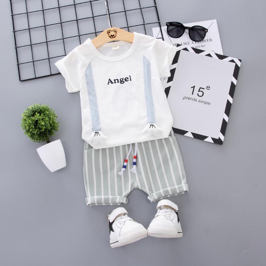 Мода Baby Boys Boys Одежда для девочек с коротким рукавом Футболка + брюки 2 шт. Набор для 12 м-3 YRS Toddler Sport Sport Sport KG-143