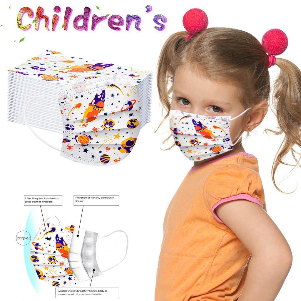 Máscaras amarilla 50Pcs impresión de cara para niños hijos de manera imprimió Mascarilla desechable mascarillas de protección escudo facial