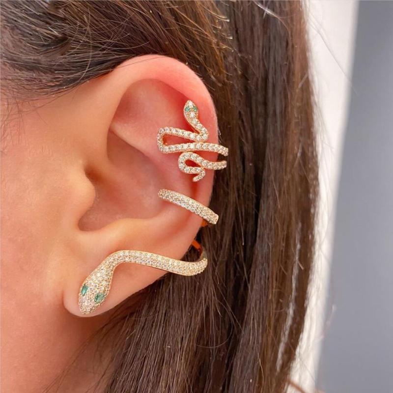 1 Stück Gold-Silber-Farbe Schlangeform weiß grün cz Ohr Manschette Multi Piercing Clip Frauen Charme Tierohrschmuck Geschenk auf Ohrring