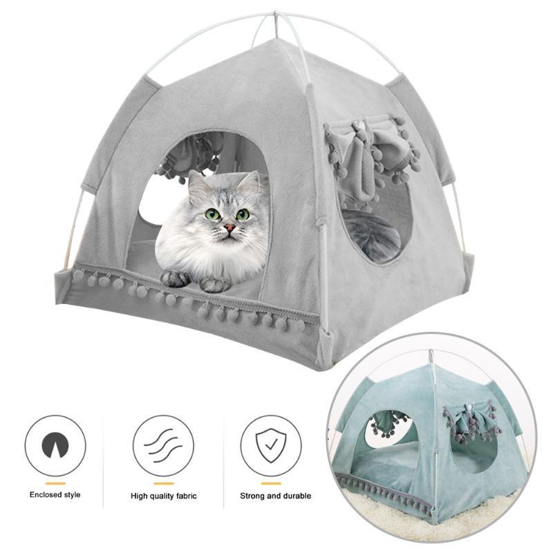القط السرير الأثاث الحيوانات الأليفة السرير للقطط الكلاب الناعمة عش بيت الكهف كهف المنزل كيس النوم القابل للإزالة حصيرة وسادة خيمة الحيوانات الأليفة الشتاء دافئ دافئ