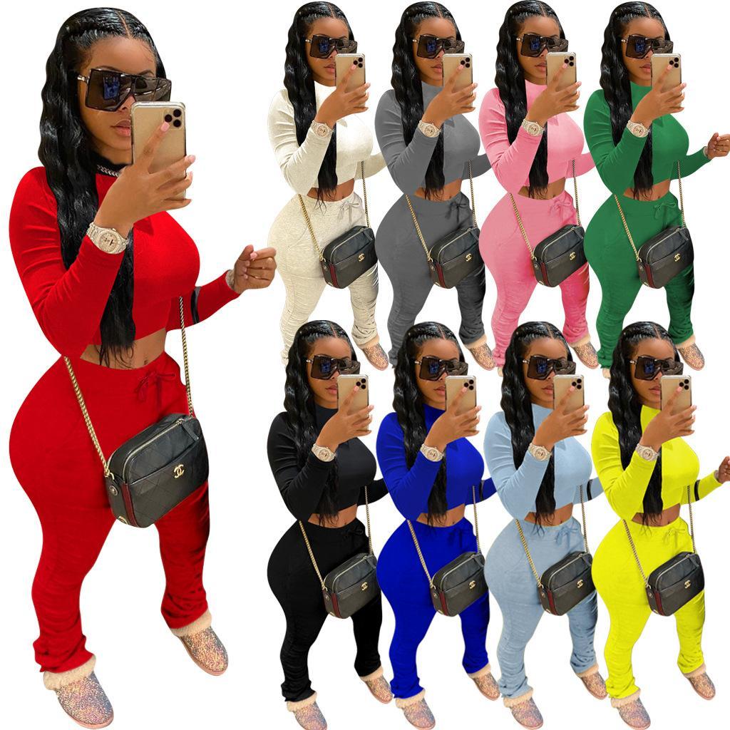 Mulheres 2 Piece Conjunto Tracksuit Moda Cor Sólida Manga Longa Camiseta Top Plissado Calças Esporte Roupas Senhoras Plus Size Ternos Casuais TY901