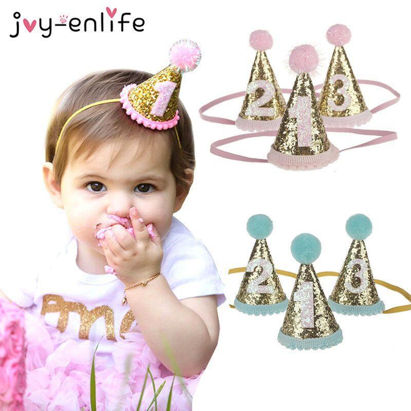 1pcs Crown Cappelli Dot con Palla di pelo Cap Baby Shower compleanno decorazione Photo puntelli del partito dei bambini