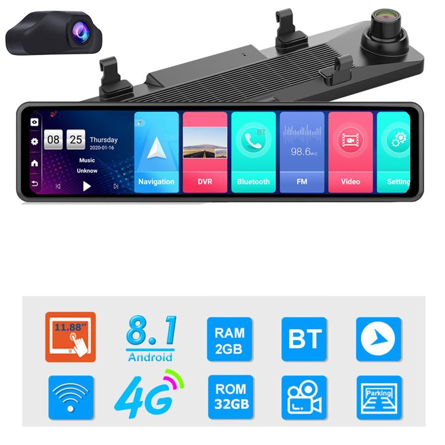 12 بوصة سيارة DVR مرآة الرؤية الخلفية 4G الروبوت 8.1 داش كاميرا GPS للملاحة أداس عالي الوضوح 1080p سيارة كاميرا فيديو مسجل DVR