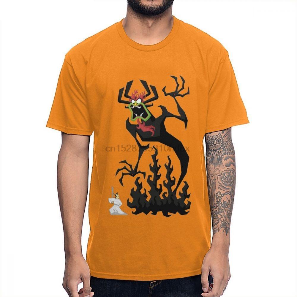 Удобный хлопок круглым воротом Самурай Джек Ти Рок Ролл Мужской Homme T Shirt