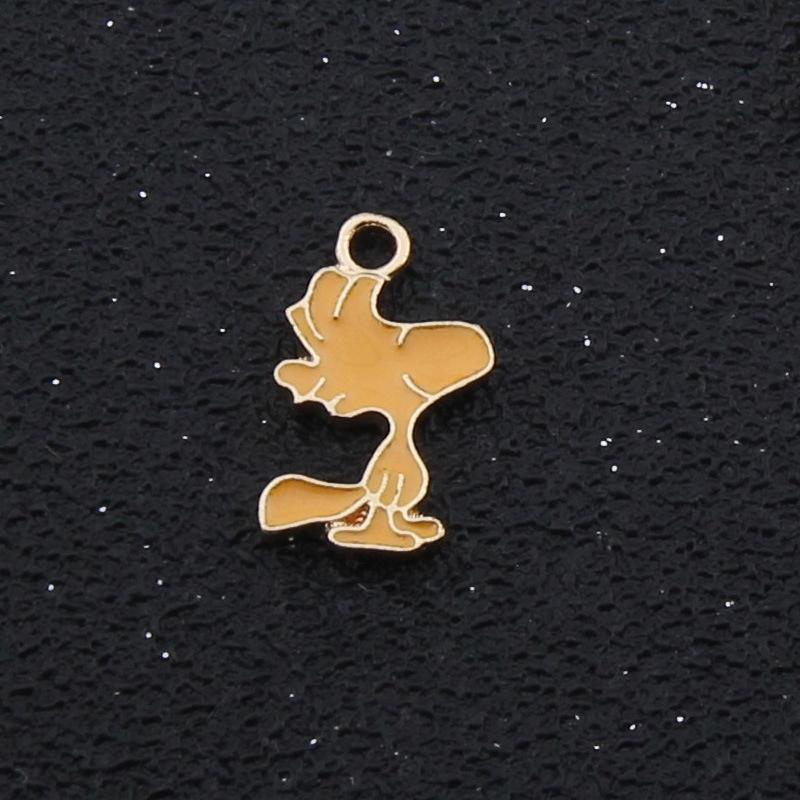 YqODZ diy accessories cartoon dripping oil alloy Diy pendant new Snoopy series pendant 100 pieces/bag