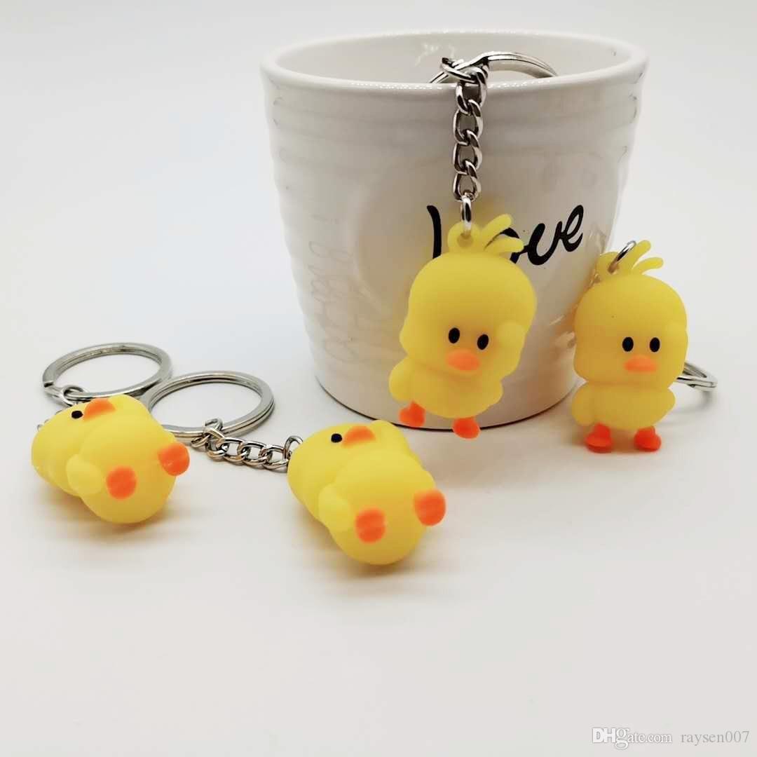 Neues PVC weiche Kleber Kleine gelbe Ente Keychain 3D Dreidimensionale Cartoon Ente Kinderschultaschen-Anhänger Großhandel