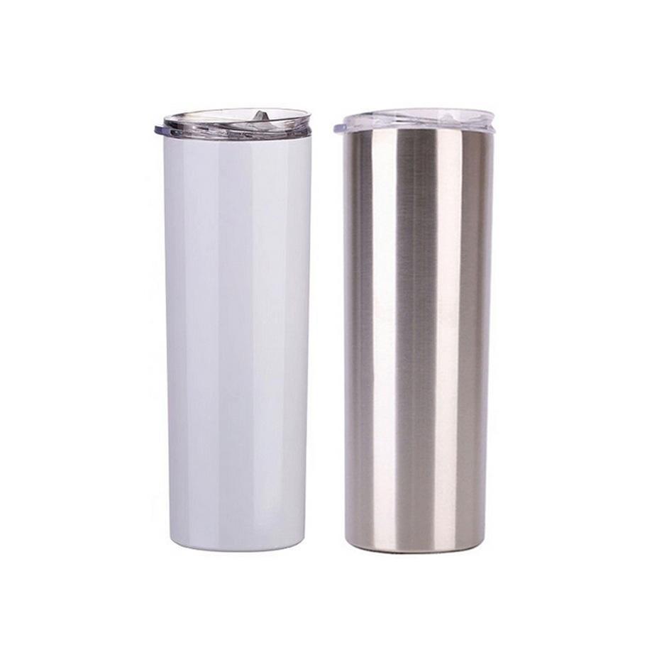 20 oz Sublimación Tumblers delgado en blanco Taza blanca con tapa de la tapa Bebida de acero inoxidable Taza de vacío Agua aislada Taza de café FFA4443