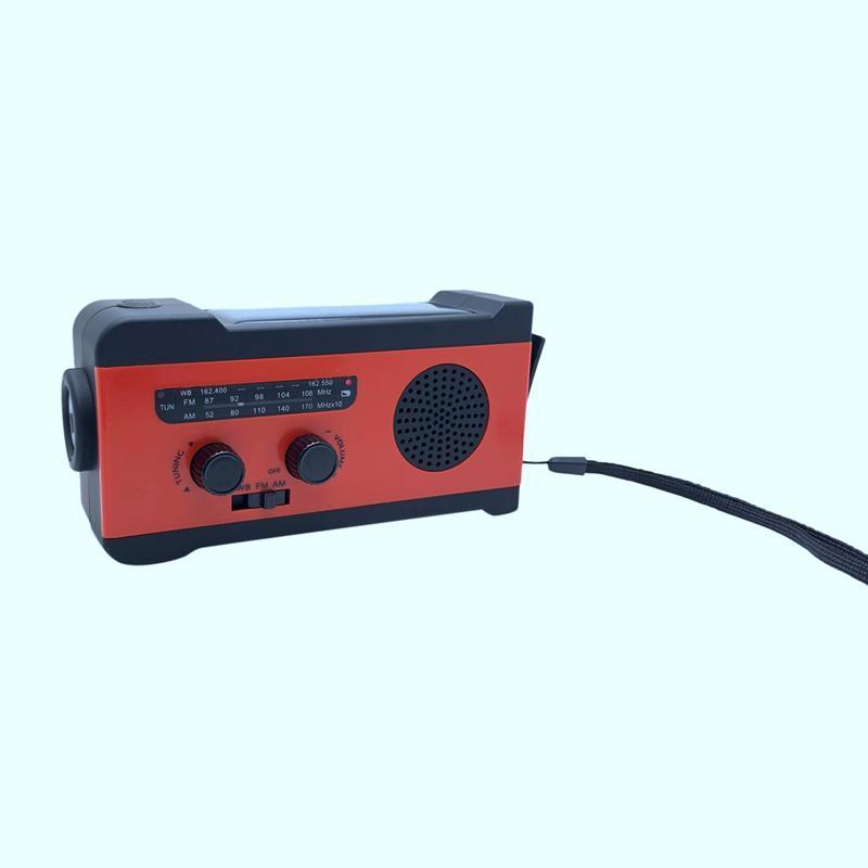 Rádio Solar Portátil AM FM emergência Manivela com 2000mAh Power Bank LED SOS Alarm para Camping Outdoor