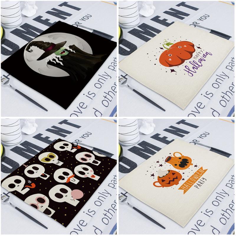 Mutlu Halloween Dekorasyon Masa Placemat Bezi Peçete Düğün 43 * 32cm Masa Peçeteler Kabak Bat Keten Print Ana Peçete