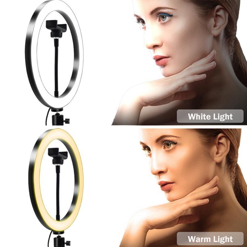 Flashes 26cm Pographie LED Selfie Lumière d'éclairage Selfie avec support USB Trépied Dimmable pour maquillage Vidéo Live Studio