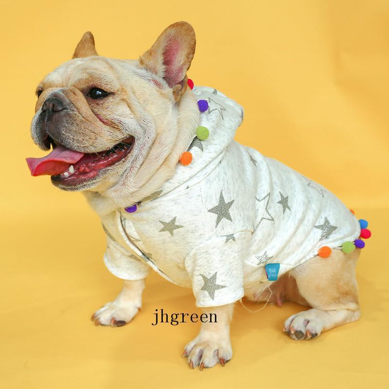 Home Or Outdoor Pet Hoodies Simple Star Print Grey Dog Hoodies Colored Balls Tassels Creativity Pet Clothing