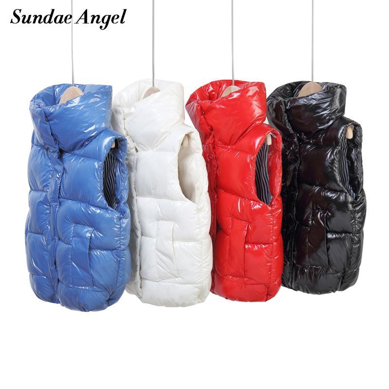 Sundae Angel Angel Camm Gilet per bambini Gilet Boy Winter Stand Collar Addenily Glossy Gilet For Girls Autunno senza maniche Gilet per bambini Y200831