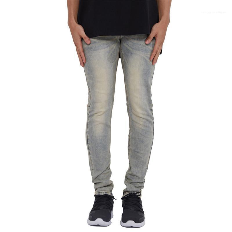 Jeans de moda con paneles de mosca de la cremallera para hombre flaco lápiz de los pantalones casual para hombre de la moda del hombres Ropa de diseño