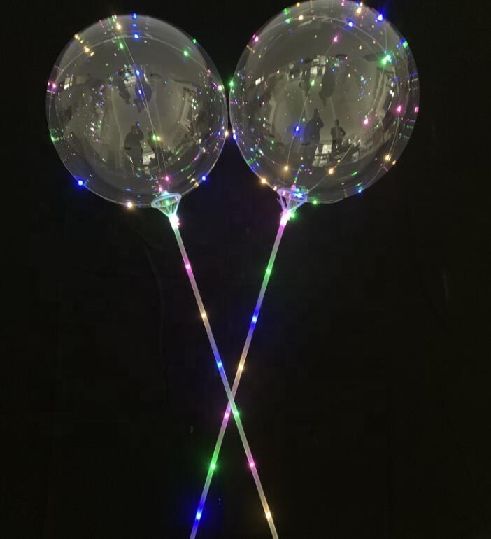 LED Bobo Balon ile 31.5inch Çubuk 3M Dize Balon LED Işık Noel Cadılar Bayramı Doğum Balonlar parti dekor Bobo Balonlar BH1346 TQQ