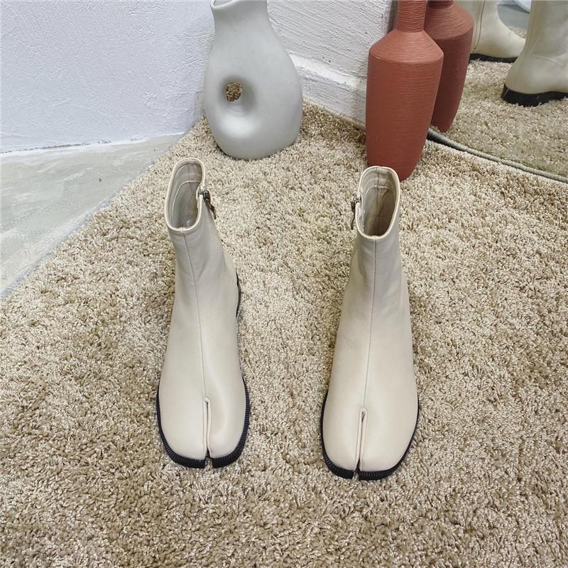 Бежевый таби Ниндзя ботинки женщин способа пу боковой молнии лодыжки короткий Bottes зимой сплошной цвет раскол ног верхом Botas бренда shoes2020