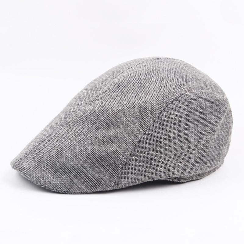 Summer Caps boina casquillo de las señoras del sombrero de los hombres de la vendimia de las mujeres de lino al aire libre los sombreros del sombrero para el sol unisex de pico de pato Caps lino boinas
