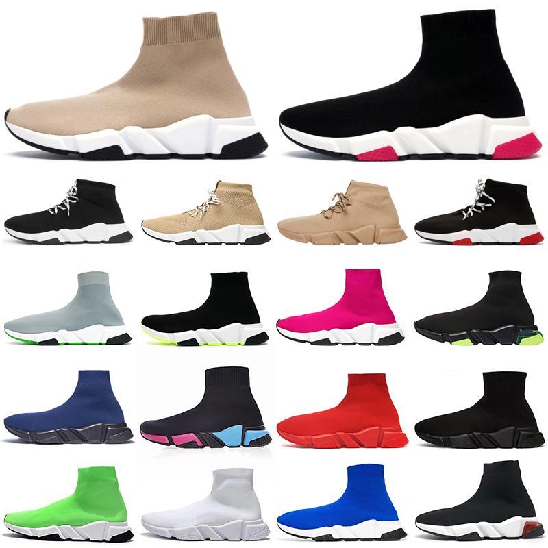 çorap ayakkabı hız Eğitmenin spor ayakkabısı Üçlü Beyaz Siyah Graffiti bej clearsole rahat ayakkabı açık erkek chaussette moda womens