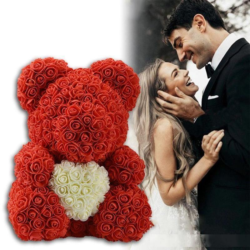 23/40cm Flower Rose Bear Valentines Day Gift Our Rose Bear Artificial Flowers Wedding Festival DIY Wedding Decoration Gift T200103