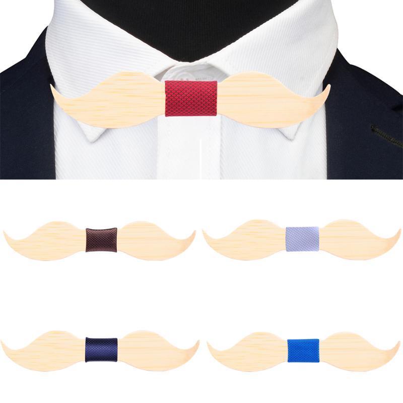 Fiesta de la boda de la novedad 100% de madera de madera de arce de la pajarita roja Bule sólido hecho a mano bigote pajarita para los hombres del pañuelo Accesorios de Moda