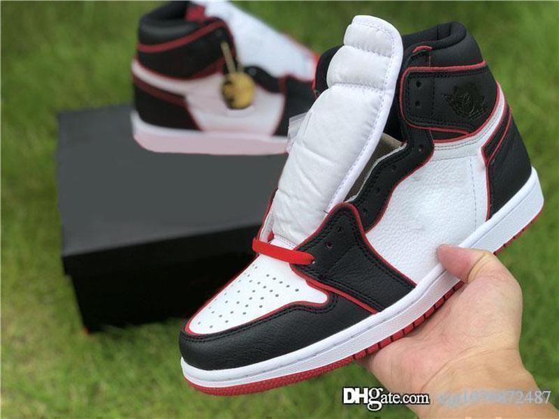 Yeni Sıcak Hava Otantik 1 Yüksek OG Bloodline Siyah Basketbol Ayakkabı Spor Kırmızı-Beyaz Retro Erkekler Kadınlar Spor Spor ayakkabılar Kutusu ile 555088-062