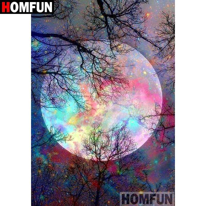 HOMFUN 5D bricolage diamant Peinture pleine carré / ronde Drill « couleur lune » croix broderie 3D cadeau point Home Décor A01288