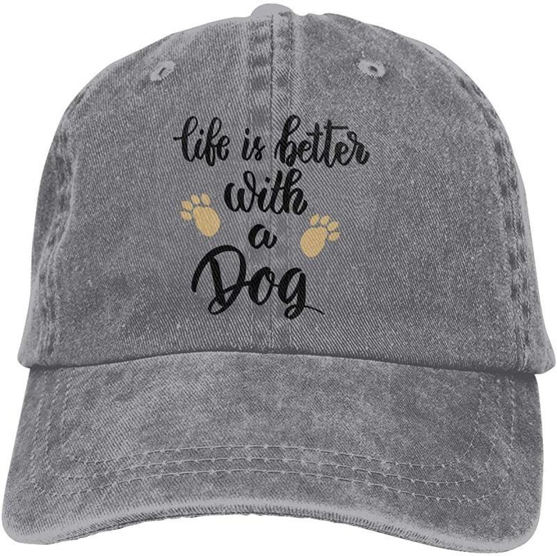 La vie est meilleure avec un chien unisexe doux Cap Casquette Vintage Baseball Caps réglable