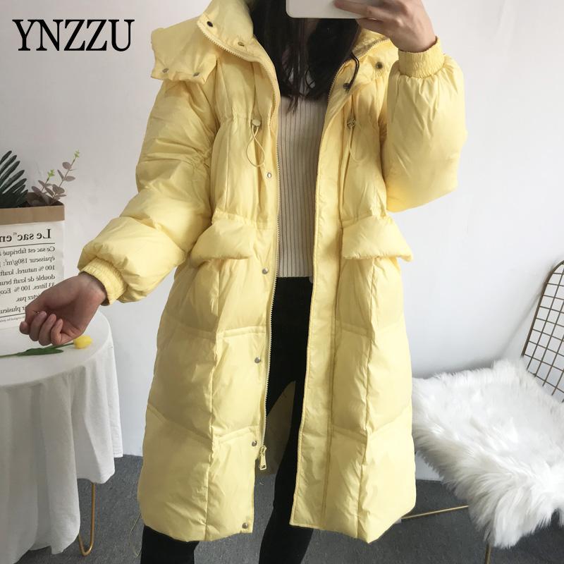 giacca invernale donne giù 2020 nuovo arrivo con cappuccio Femminile lungo Outwear oversize moda spessore caldo cappotto elegante dolce YNZZU 9O218