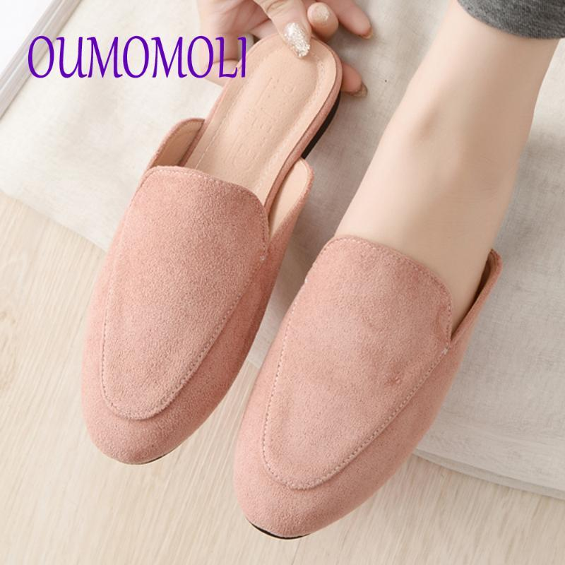 Замша Тапочки Женская обувь Летняя Flipflops Flats Женщина Тапочки Toe Мулы Остроконечные Слайды Mujer 2020 Q656